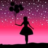 Διανυσματικό κορίτσι σκιαγραφιών που κρατά ένα μπαλόνι Στοκ εικόνα με δικαίωμα ελεύθερης χρήσης