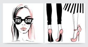 Διανυσματικό κορίτσι στα γυαλιά Μοντέρνο πρόσωπο γυναικών απεικόνιση αποθεμάτων