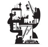 Διανυσματικό κτήριο κάτω από την οικοδόμηση με τους εργαζομένους μέσα ελεύθερη απεικόνιση δικαιώματος