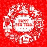 Διανυσματικό κυκλικό στεφάνι, πρότυπο ευχετήριων καρτών Χριστουγέννων, Χαρούμενα Χριστούγεννα Σχέδιο χειμερινών διακοπών, σχέδιο  Στοκ φωτογραφία με δικαίωμα ελεύθερης χρήσης