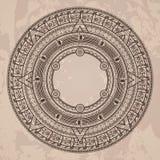 Διανυσματικό κυκλικό σχέδιο στο ύφος της των Αζτέκων ημερολογιακής πέτρας Στοκ φωτογραφίες με δικαίωμα ελεύθερης χρήσης