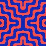 Διανυσματικό κυματιστό άνευ ραφής σχέδιο στα φωτεινά μπλε και κόκκινα χρώματα Καθιερώνον τη μόδα σχέδιο απεικόνιση αποθεμάτων