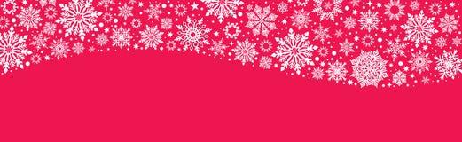 Διανυσματικό κόκκινο εμβλημάτων Ιστού Χριστουγέννων με άσπρα snowflakes ελεύθερη απεικόνιση δικαιώματος