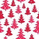 Διανυσματικό κόκκινο και άσπρο διεσπαρμένο άνευ ραφής σχέδιο χειμερινών διακοπών χριστουγεννιάτικων δέντρων Μεγάλος για το ύφασμα Στοκ Εικόνες