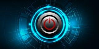 Διανυσματικό κόκκινο κουμπί δύναμης στο υπόβαθρο τεχνολογίας Στοκ φωτογραφία με δικαίωμα ελεύθερης χρήσης