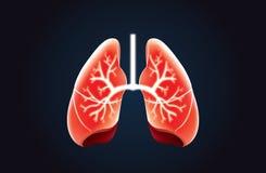 Διανυσματικό κόκκινο χρώμα πνευμόνων στο Μαύρο απεικόνιση αποθεμάτων