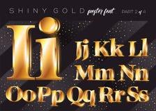 Διανυσματικό λαμπρό χρυσό αλφάβητο Ρεαλιστικός μεταλλικός χαρακτήρας διανυσματική απεικόνιση