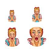 Διανυσματικό λαϊκό είδωλο τέχνης της κραυγής, φωνάζοντας ξανθό κορίτσι με το ανοιγμένο στόμα στον περιστασιακό ιματισμό Εικονίδιο διανυσματική απεικόνιση