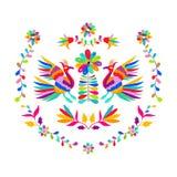 Διανυσματικό λαϊκό μεξικάνικο σχέδιο κεντητικής ύφους Otomi Στοκ Φωτογραφία