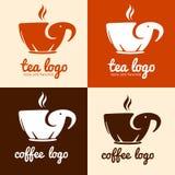 Διανυσματικό λογότυπο διαμορφωμένης σκιαγραφίας ελεφάντων φλυτζανιών της κούπα για τον καφέ τσαγιού καφέ Στοκ φωτογραφίες με δικαίωμα ελεύθερης χρήσης