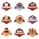 Διανυσματικό λογότυπο καφετεριών, ετικέτα, αυτοκόλλητη ετικέττα, σύνολο εμβλημάτων Απομονωμένα στοιχεία σχεδίου προγευμάτων καφέδ διανυσματική απεικόνιση