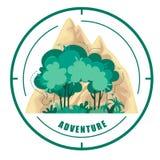 Διανυσματικό λογότυπο της φύσης και των βουνών E Σύμβολο στο άσπρο υπόβαθρο ελεύθερη απεικόνιση δικαιώματος