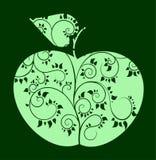 Διανυσματικό μήλο με το κυρτό σχέδιο Στοκ Εικόνες