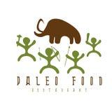 Διανυσματικό μαμούθ απεικόνισης τροφίμων Paleo και cavemans Στοκ Φωτογραφίες