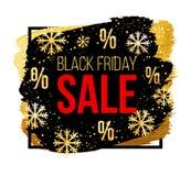 Διανυσματικό μαύρο έμβλημα πώλησης Παρασκευής με snowflakes Πρότυπο σχεδίου για την πώληση Χριστουγέννων, τη χειμερινή πώληση ή τ Στοκ φωτογραφία με δικαίωμα ελεύθερης χρήσης