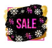 Διανυσματικό μαύρο έμβλημα πώλησης Παρασκευής με snowflakes Πρότυπο σχεδίου για την πώληση Χριστουγέννων, τη χειμερινή πώληση ή τ Στοκ Φωτογραφίες