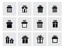 Διανυσματικό μαύρο εικονίδιο δώρων που τίθεται στο λευκό Στοκ εικόνες με δικαίωμα ελεύθερης χρήσης