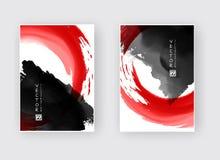 Διανυσματικό μαύρο κόκκινο κτύπημα βουρτσών μελανιού Στοκ Εικόνες