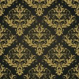 Διανυσματικό μαύρο περίκομψο damask άνευ ραφής αφηρημένο διακοσμητικό κομψό σχέδιο υποβάθρου Στοκ εικόνα με δικαίωμα ελεύθερης χρήσης