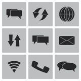 Διανυσματικό μαύρο σύνολο εικονιδίων επικοινωνίας Στοκ Εικόνα