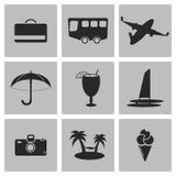 Διανυσματικό μαύρο σύνολο εικονιδίων ταξιδιού Στοκ εικόνα με δικαίωμα ελεύθερης χρήσης