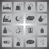 Διανυσματικό μαύρο σύνολο εικονιδίων ύπνου Στοκ εικόνα με δικαίωμα ελεύθερης χρήσης