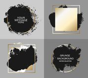 Διανυσματικό μαύρο χρώμα, κτύπημα βουρτσών μελανιού, βούρτσα, γραμμή ή σύσταση Καλλιτεχνικό στοιχείο, κιβώτιο, πλαίσιο ή υπόβαθρο ελεύθερη απεικόνιση δικαιώματος
