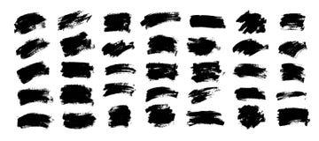 Διανυσματικό μαύρο χρώμα, κτύπημα βουρτσών μελανιού, βούρτσα Σύσταση κακογραφίας διανυσματική απεικόνιση