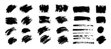Διανυσματικό μαύρο χρώμα, κτύπημα βουρτσών μελανιού, βούρτσα Σύσταση κακογραφίας απεικόνιση αποθεμάτων