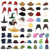 Διανυσματικό μεγάλο σύνολο καπέλων και καλυμμάτων κινούμενων σχεδίων 57 στοιχεία Headwear απεικόνιση αποθεμάτων
