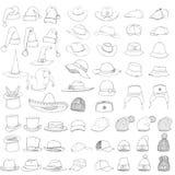 Διανυσματικό μεγάλο σύνολο καπέλων και καλυμμάτων σκίτσων Στοκ εικόνες με δικαίωμα ελεύθερης χρήσης