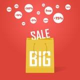 Διανυσματικό μεγάλο υπόβαθρο έκπτωσης προώθησης πώλησης Απεικόνιση αποθεμάτων