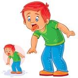 Διανυσματικό μικρό παιδί με μια αναφυλαξία στη γλώσσα, αλλεργία, στοματίτιδα, έρπης απεικόνιση αποθεμάτων