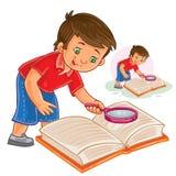 Διανυσματικό μικρό παιδί που διαβάζει ένα βιβλίο με μια ενίσχυση - γυαλί διανυσματική απεικόνιση