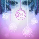 Διανυσματικό μπλε και ιώδες υπόβαθρο διακοπών με τις σφαίρες Χριστουγέννων Στοκ φωτογραφία με δικαίωμα ελεύθερης χρήσης