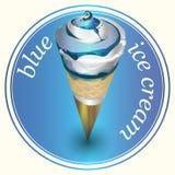 Διανυσματικό μπλε παγωτό αυτοκόλλητων ετικεττών σχεδίου Στοκ Εικόνα