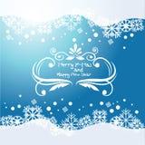 Διανυσματικό μπλε υπόβαθρο με snowflakes και το στοιχείο μπουκλών Στοκ εικόνα με δικαίωμα ελεύθερης χρήσης