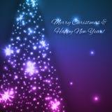 Διανυσματικό μπλε υπόβαθρο Χριστουγέννων με το λάμποντας χριστουγεννιάτικο δέντρο Στοκ Εικόνες