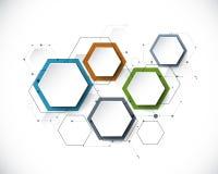 Διανυσματικό μόριο με την τρισδιάστατη ετικέτα εγγράφου, ενσωματωμένο Hexagon backgrou ελεύθερη απεικόνιση δικαιώματος