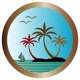 Διανυσματικό νησί φοινικών Στοκ Εικόνες