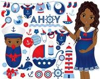 Διανυσματικό ντους μωρών που τίθεται με τη έγκυο γυναίκα και το μωρό σε ναυτικό ελεύθερη απεικόνιση δικαιώματος