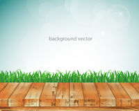 Διανυσματικό ξύλινο πάτωμα απεικόνισης και πράσινη χλόη Στοκ εικόνες με δικαίωμα ελεύθερης χρήσης