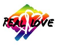 Διανυσματικό λογότυπο αγάπης ουράνιων τόξων πραγματικό Στοκ Εικόνες