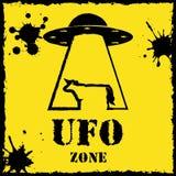 Διανυσματικό λογότυπο αγελάδων ζώνης ufo στο κίτρινο υπόβαθρο Στοκ φωτογραφίες με δικαίωμα ελεύθερης χρήσης