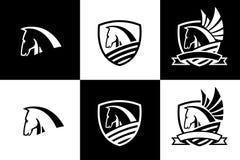 Διανυσματικό λογότυπο με το εικονίδιο κεφαλιών αλόγων