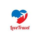 Διανυσματικό λογότυπο ταξιδιού αγάπης Στοκ Φωτογραφία
