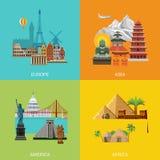 Διανυσματικό ορόσημο διακοπών ταξιδιού της Ευρώπης Ασία Αμερική Αφρική Στοκ Φωτογραφίες