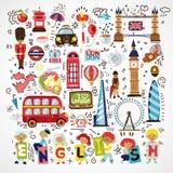 Διανυσματικό ορόσημο του Λονδίνου, σύμβολα Συρμένη χέρι Αγγλία doodle Συλλογή εικονιδίων πόλεων του Λονδίνου doodles Συρμένο χέρι ελεύθερη απεικόνιση δικαιώματος