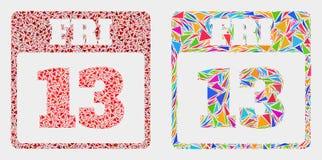 Διανυσματικό 13ο εικονίδιο μωσαϊκών ημερολογιακών σελίδων Παρασκευής των τριγώνων διανυσματική απεικόνιση