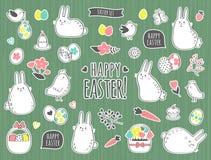 Διανυσματικό Πάσχα που τίθεται με τα χαριτωμένα λαγουδάκια, τα κοτόπουλα, τα λουλούδια και τα αυγά Στοκ Φωτογραφίες